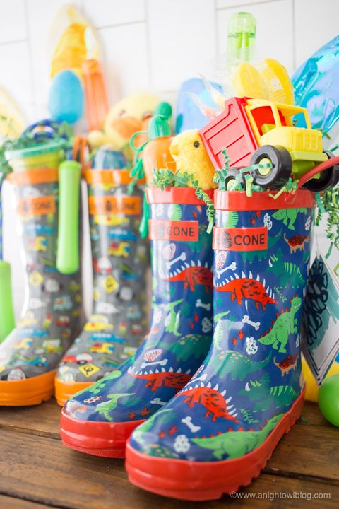 a night owl rain boot easter basket