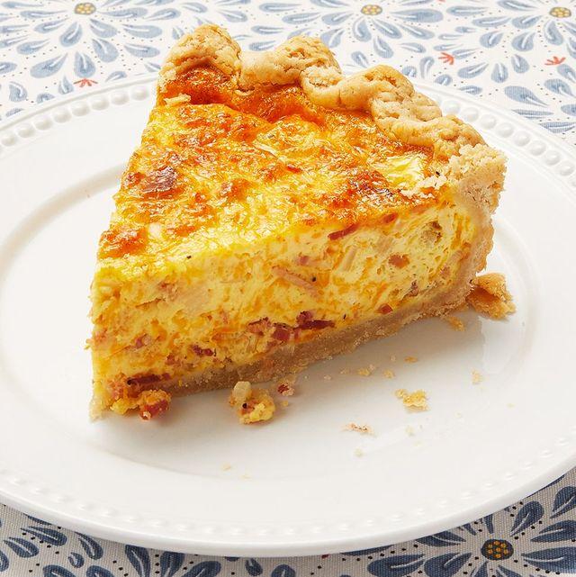 quiche slice on white plate