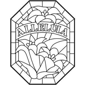 a blank coloring page that says alleluia and once colored in will look like stained glass