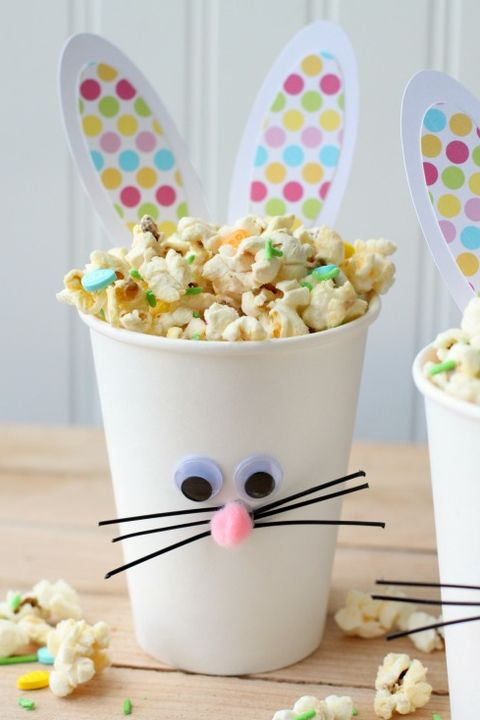 Easter Crafts Bunny Cups with Popcorn Snack