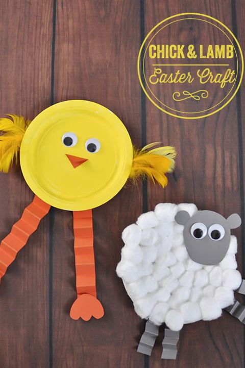 Easter Crafts Chick and Lamb Made from Plate DIY with Kids