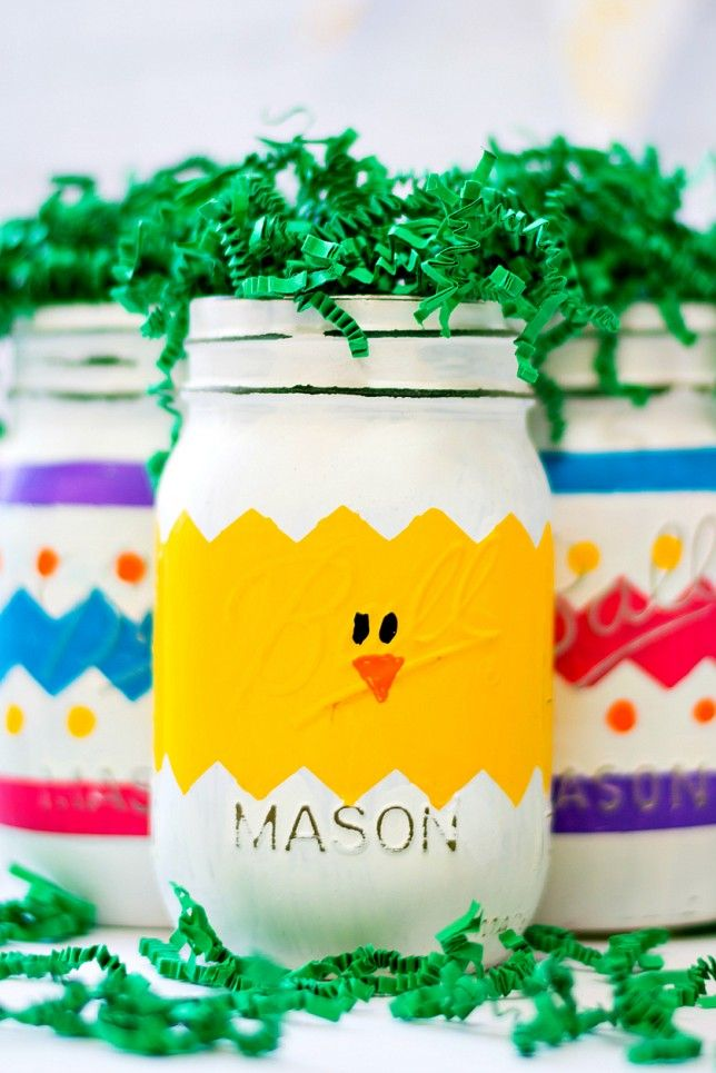 Easter Crafts Peeps Mason Jar DIY with Kids