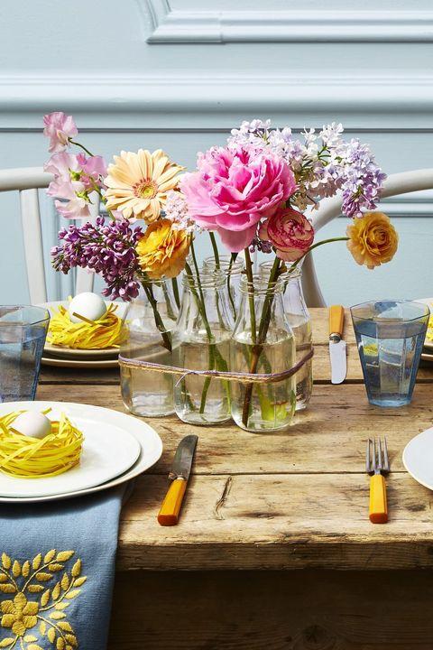 easter decorations - milk jar arrangement