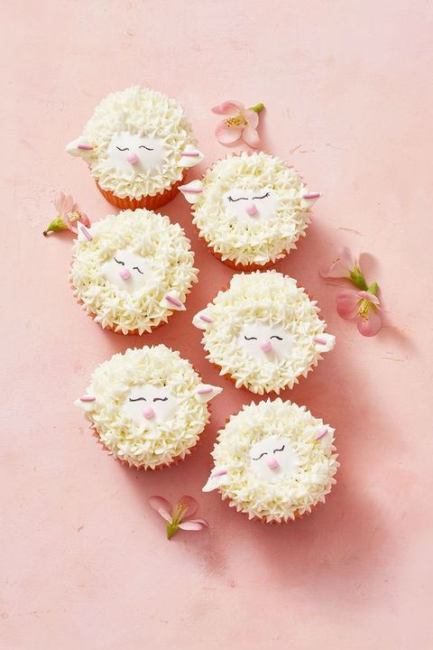 easter desserts - lamb cupcakes