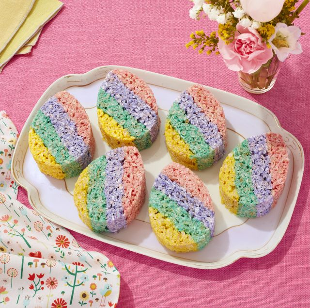 easter egg cereal treats with pastel stripes on pink linen