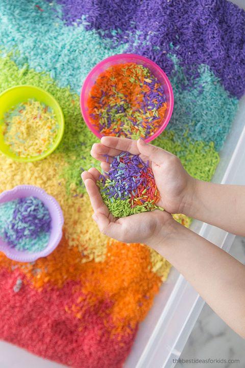 rainbow rice easter egg idea