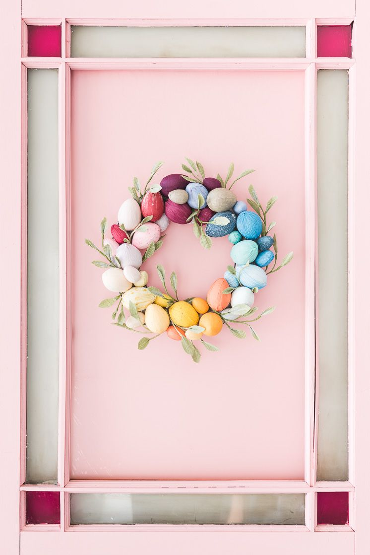 Outdoor Easter Decorations - Rainbow Easter Egg Wreath