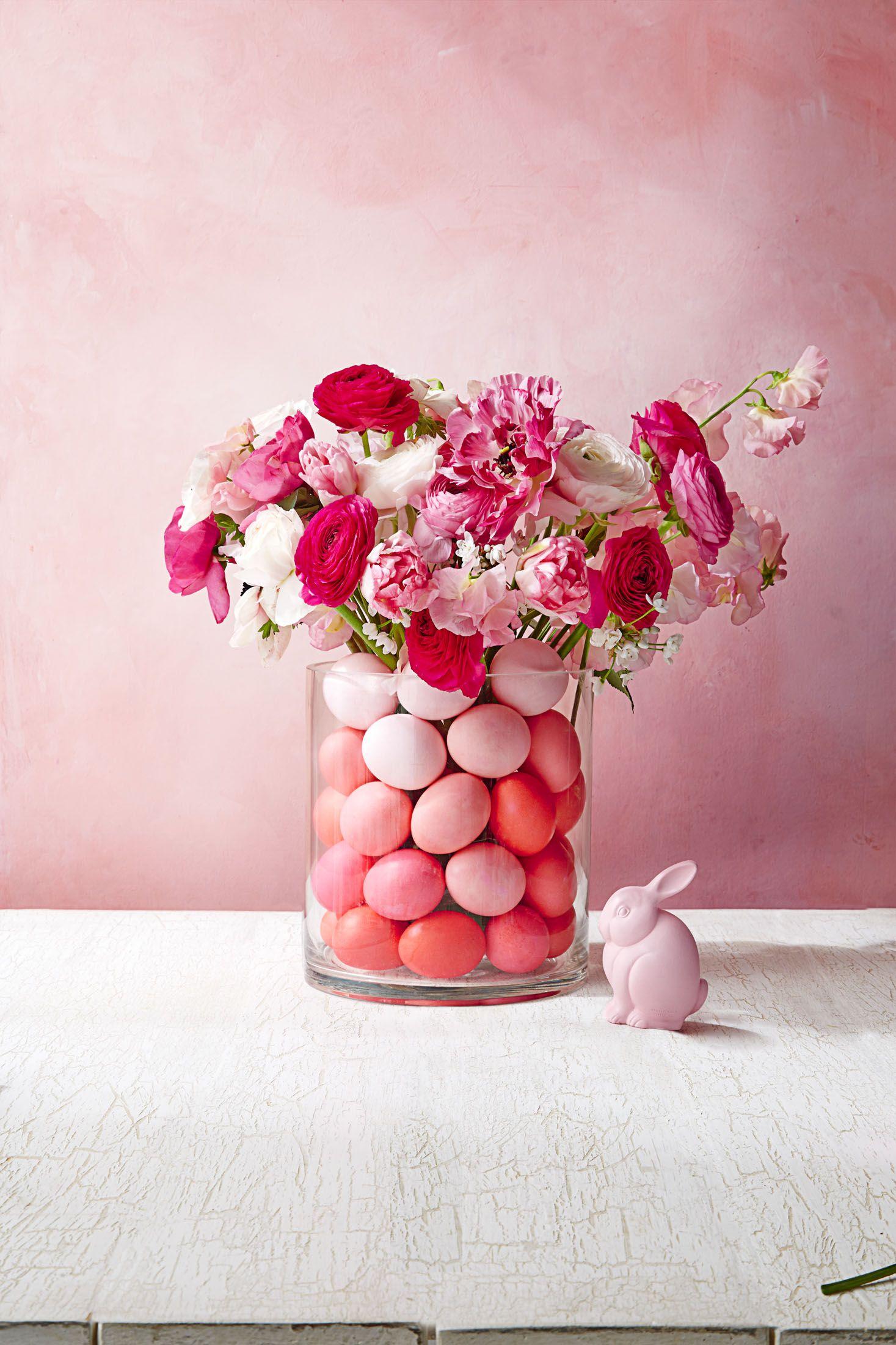 Easter Flowers Pink Ombré Egg Filled Vase