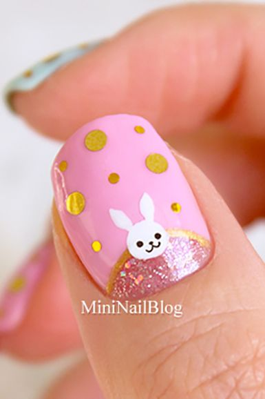 easter nail design - bunny half moon design