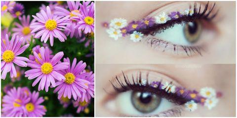 easter makeup - flower eyeliner