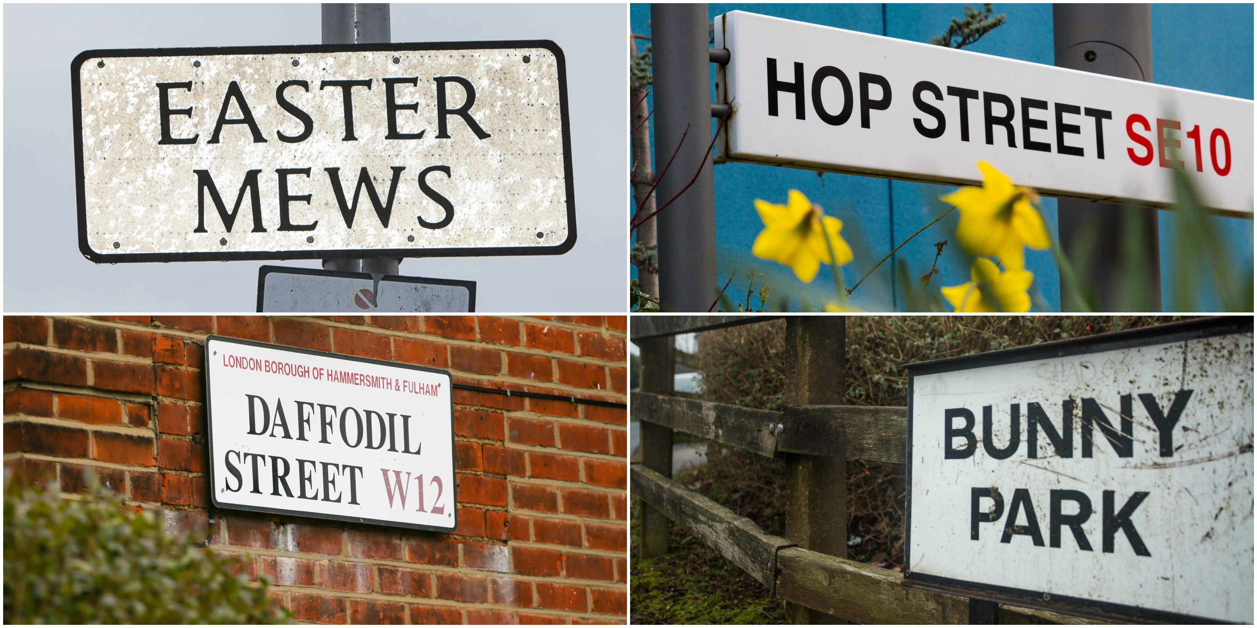 Top 20 Easter-themed street name hotspots in the UK