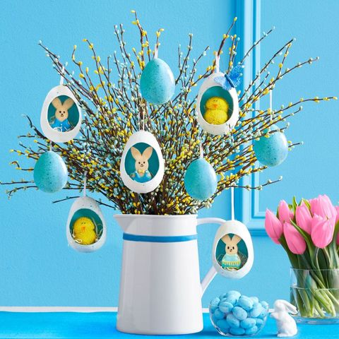 easter table decorations hanging egg centerpiece