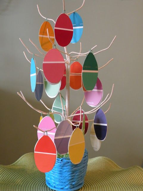 easter tree diy paint chip