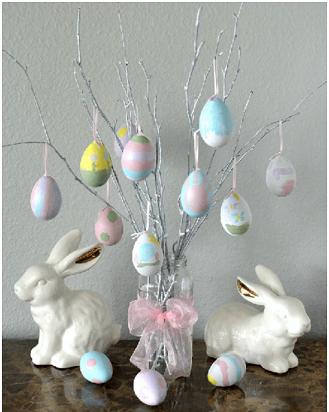 easter tree diy pastel painted eggs