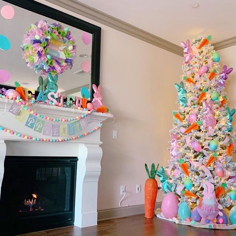 Christmas tree, Christmas decoration, Pink, Room, Interior design, Tree, Living room, Furniture, Interior design, Home,