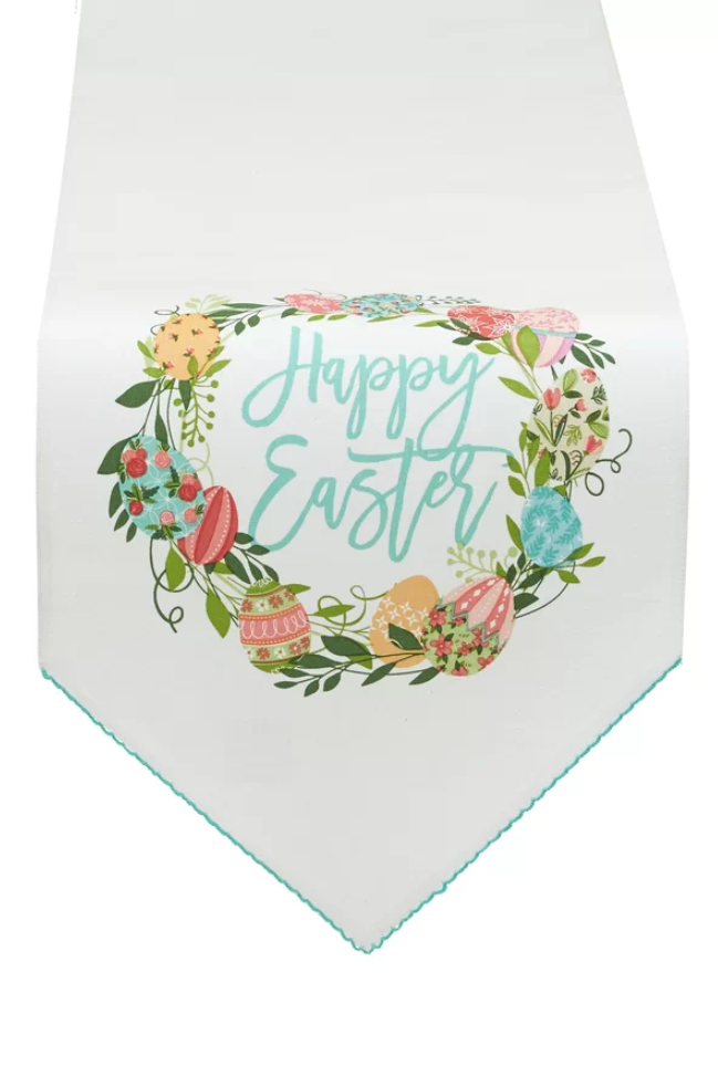 easter wreath embellished table runner