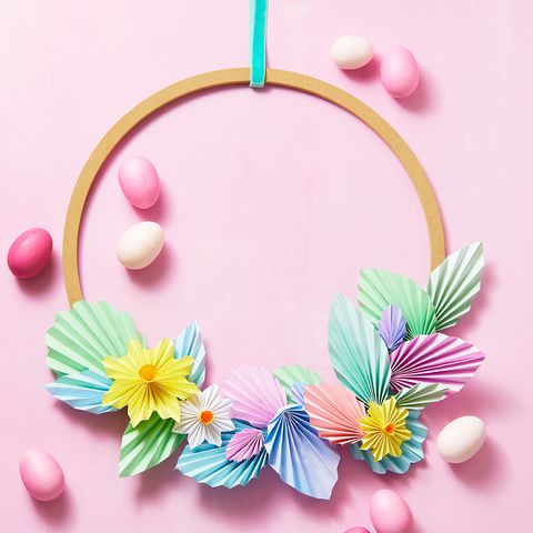 paper flower leaf wreath