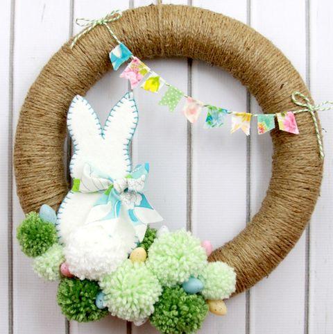 easter wreaths - pom pom bunny wreath