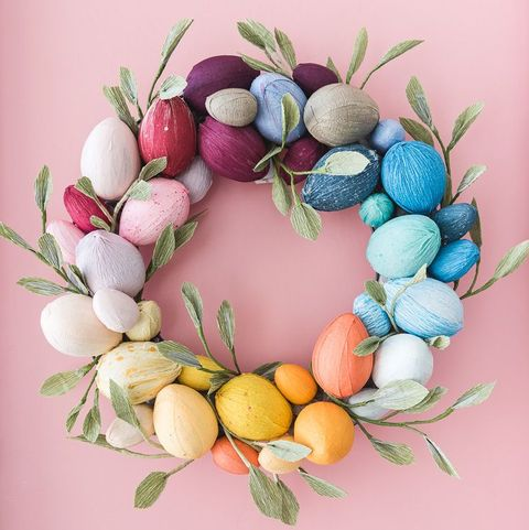 easter wreaths - rainbow egg wreath