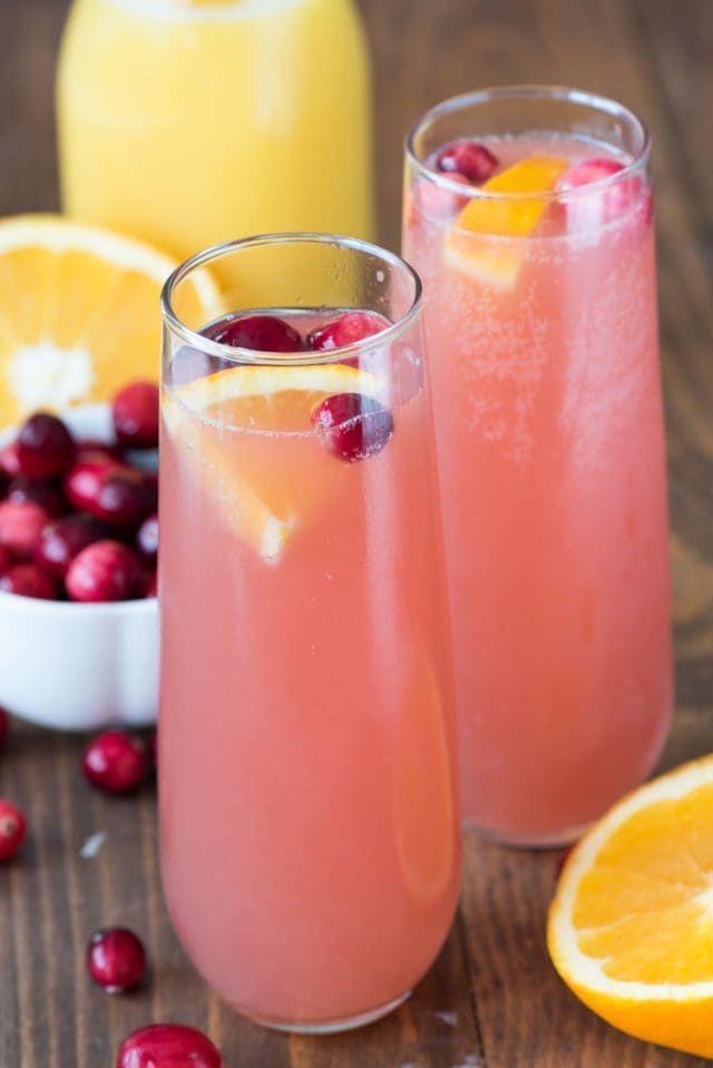easy 3 ingredient cocktails Cranberry Orange Mimosa