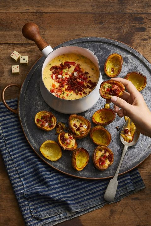 New Year's Eve Appetizers - Chorizo Queso with Potato Skins