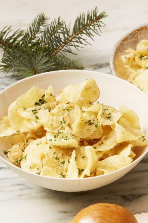 New Year's Eve Appetizers - Parmesan-Chive Chips