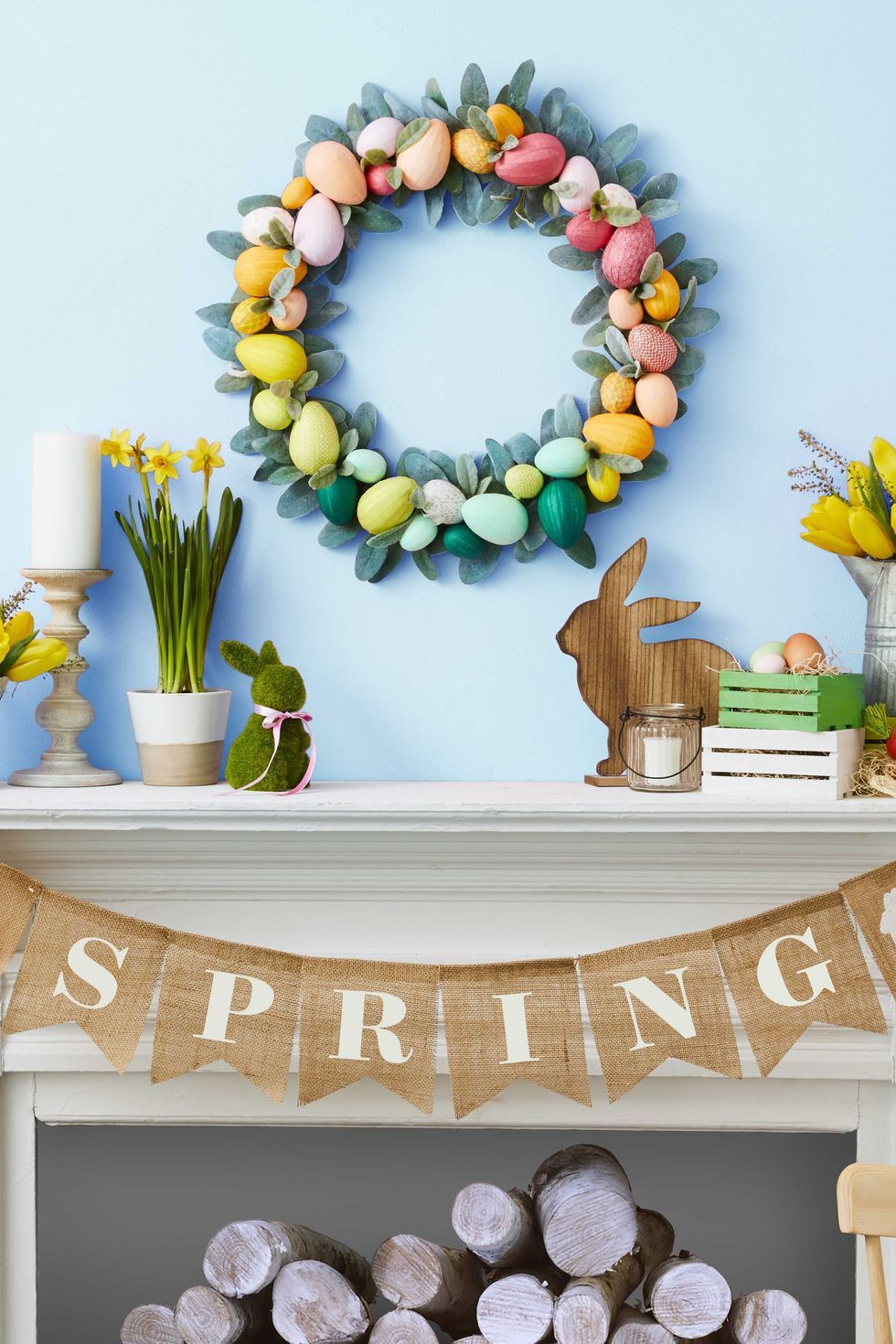 Happy Easter Banner Chicks Eggs Flowers Easter Spring Decorative Window Clings Reusable Stickers Decor Easter Decorations
