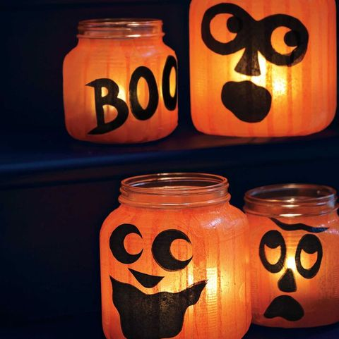 easy halloween decorations pumpkin jar lights