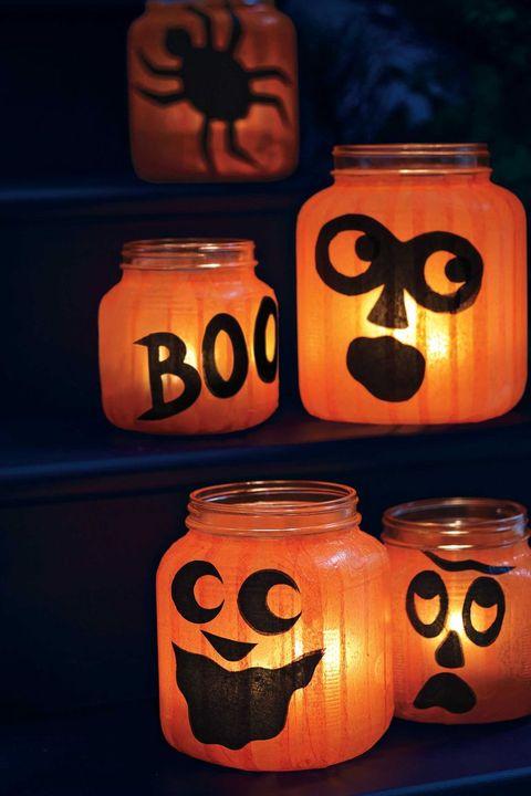 easy halloween decorations pumpkin jar lights