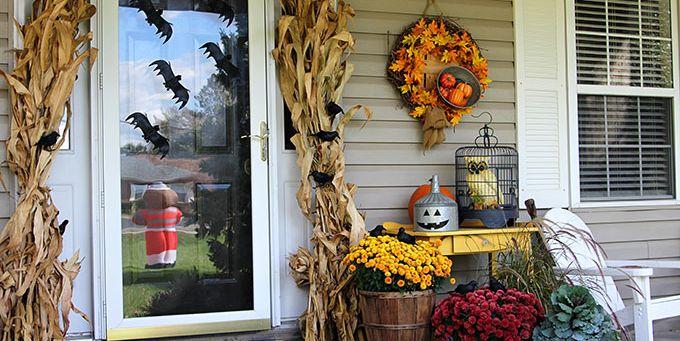 fall to halloween porch decor