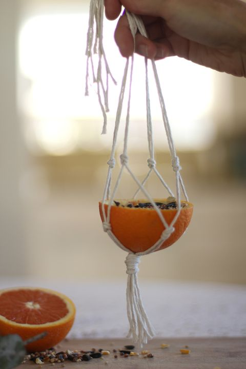 macrame orange bird feeder