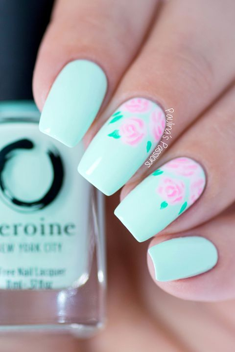 rose nail design - 10 Cute Easter Nail Designs 2018 - Easy Nail Polish Art Ideas For Easter