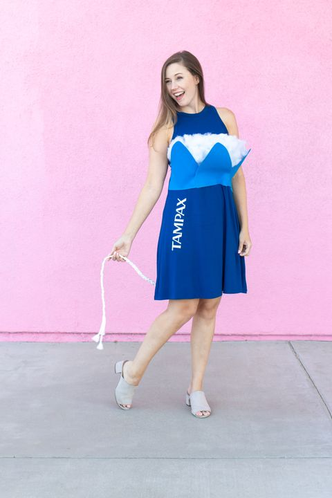 women dressed as a tampon