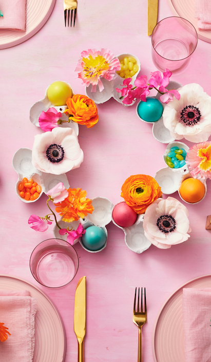 Easter Decorations Eggshell Wreath on Pink Tablesetting