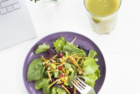 Eating salad at desk