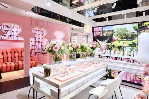 Pink, Interior design, Room, Furniture, Building, Ceiling, Design, Table, Living room, Architecture,