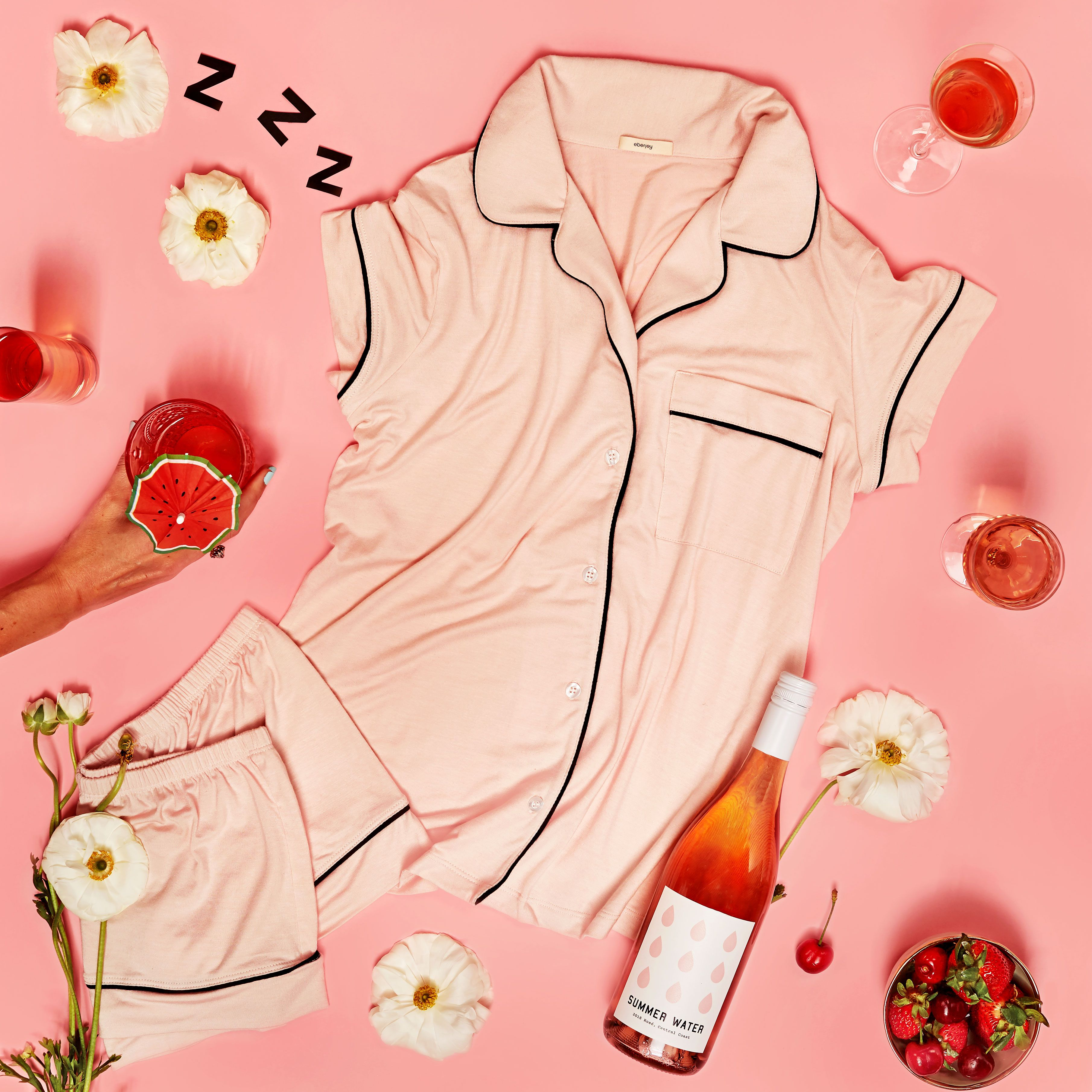 Summer Water Rosé and Eberjey Partnered to Create the Perfect Summer PJs