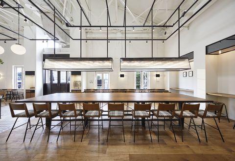 Room, Building, Interior design, Furniture, Table, Ceiling, Floor, Lighting, Architecture, House,