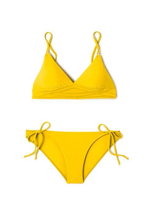 Swimsuit bottom, Bikini, Swimsuit top, Swimwear, Clothing, Yellow, Undergarment, Lingerie, Briefs, Lingerie top,