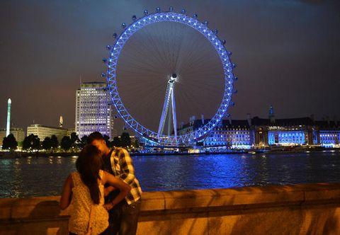 Night, Ferris wheel, Blue, Metropolitan area, Urban area, Metropolis, Tourism, Architecture, City, Photograph,