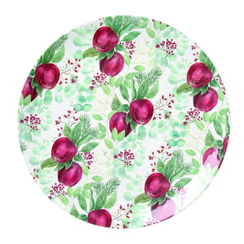 bandeja de loza con manzanas pintadas