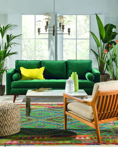 salón decorado en verde para el verano