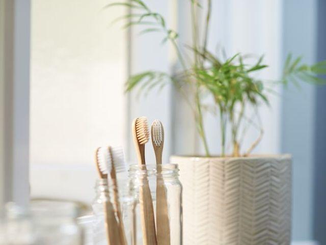 zero waste plastic free products on bathroom window sill