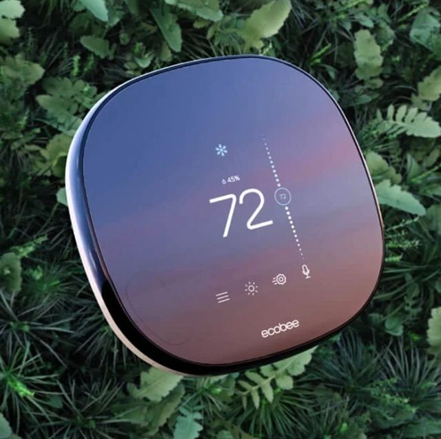 ecobee smart thermometer in shrubs