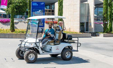 Vehicle, Golf cart, Mode of transport, Motor vehicle, Transport, Car, Automotive wheel system, Electric vehicle, Wheel, Street,