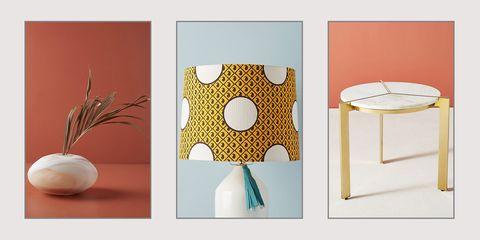 Yellow, Pattern, Design, Room, Table, Modern art, Furniture, Polka dot, Interior design, Still life,