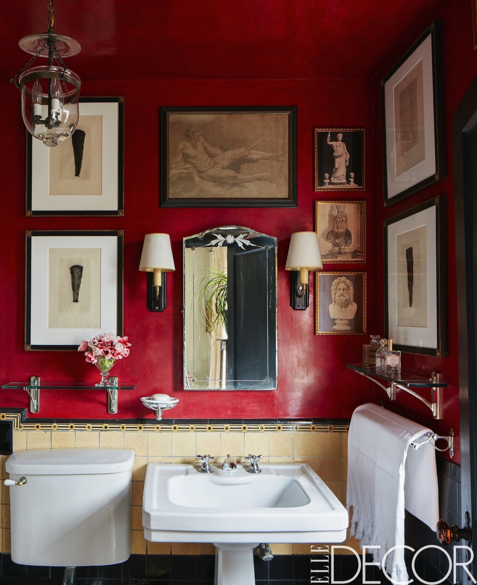 Bathroom Wall Design Ideas Part - 20: Stephen Kent Johnson. Rich Red Bathroom