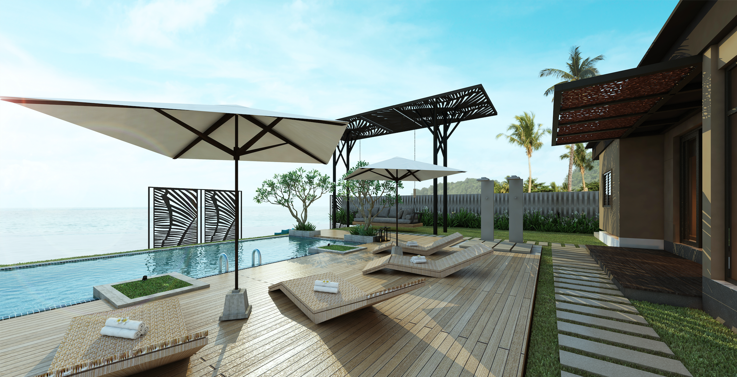 Pool Deck Ideas - Pool Deck Design Tips Pool House Entertainment Combination And Designs on house and pool house, house and inground pool, house and furniture, kitchen and pool design, house and trees, yard and pool design,