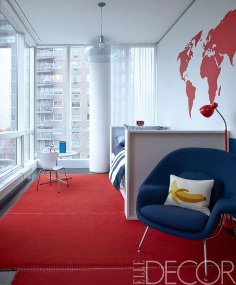 Red, Room, Interior design, Blue, Living room, Floor, Property, Furniture, Ceiling, Building,