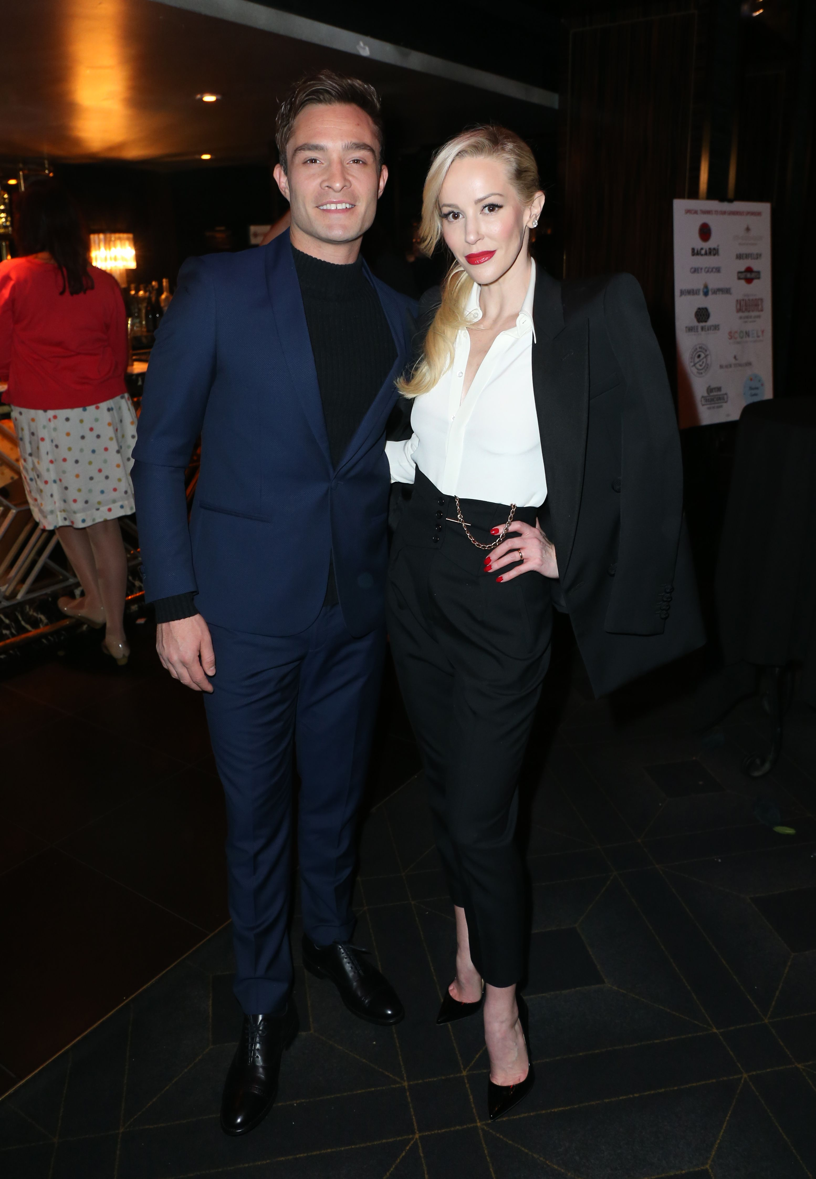 Louise Linton and Ed Westwick, her co-star in Me, You, Madness , pose for a photo together at the California Fire Foundation's 6th Annual Gala in March of 2019.